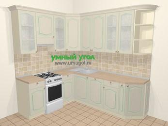 Угловая кухня МДФ патина в стиле прованс 6,6 м², 190 на 240 см, Керамик, верхние модули 92 см, посудомоечная машина, отдельно стоящая плита