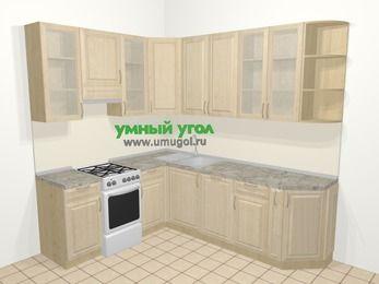 Угловая кухня из массива дерева в классическом стиле 6,6 м², 190 на 240 см, Светло-коричневые оттенки, верхние модули 92 см, посудомоечная машина, отдельно стоящая плита