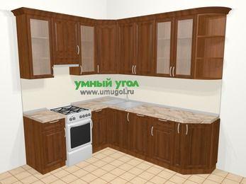 Угловая кухня из массива дерева в классическом стиле 6,6 м², 190 на 240 см, Темно-коричневые оттенки, верхние модули 92 см, посудомоечная машина, отдельно стоящая плита