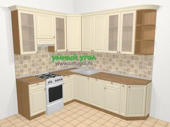 Угловая кухня из массива дерева в стиле кантри 6,6 м², 190 на 240 см, Бежевые оттенки, верхние модули 92 см, посудомоечная машина, отдельно стоящая плита