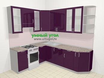 Угловая кухня МДФ глянец в современном стиле 6,6 м², 190 на 240 см, Баклажан, верхние модули 92 см, посудомоечная машина, отдельно стоящая плита