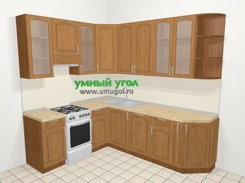 Угловая кухня МДФ патина в классическом стиле 6,6 м², 190 на 240 см, Ольха, верхние модули 92 см, посудомоечная машина, отдельно стоящая плита