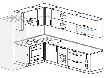 Планировка угловой кухни 6,8 м², 190 на 250 см: верхние модули 72 см, холодильник, встроенный духовой шкаф, посудомоечная машина, корзина-бутылочница