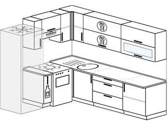 Планировка угловой кухни 6,8 м², 190 на 250 см: верхние модули 72 см, холодильник, корзина-бутылочница, отдельно стоящая плита