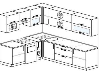Планировка угловой кухни 6,8 м², 190 на 250 см: верхние модули 72 см, отдельно стоящая плита, корзина-бутылочница, верхний модуль под свч