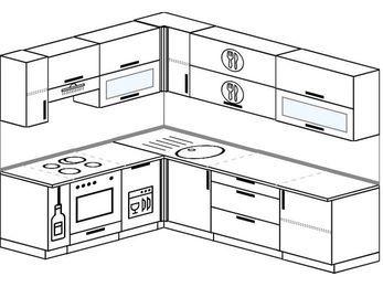 Планировка угловой кухни 6,8 м², 190 на 250 см: верхние модули 72 см, корзина-бутылочница, встроенный духовой шкаф, посудомоечная машина