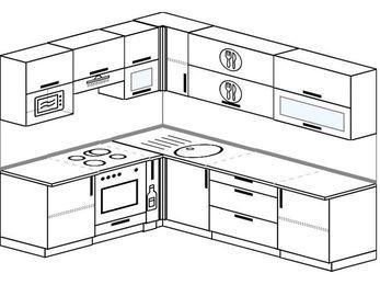 Планировка угловой кухни 6,8 м², 190 на 250 см: верхние модули 72 см, встроенный духовой шкаф, корзина-бутылочница, верхний модуль под свч