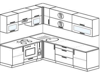Планировка угловой кухни 6,8 м², 1900 на 2500 мм: верхние модули 720 мм, встроенный духовой шкаф, корзина-бутылочница
