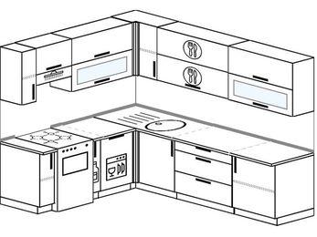 Планировка угловой кухни 6,8 м², 190 на 250 см: верхние модули 72 см, отдельно стоящая плита, корзина-бутылочница, посудомоечная машина