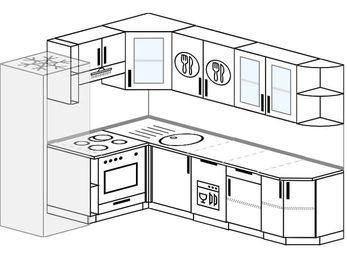 Угловая кухня 6,8 м² (1,9✕2,5 м), верхние модули 72 см, посудомоечная машина, встроенный духовой шкаф, холодильник