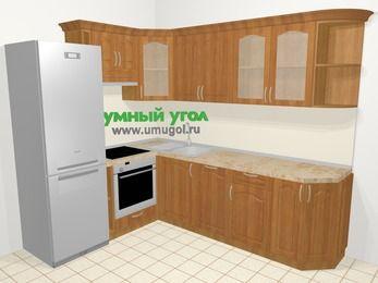 Угловая кухня МДФ матовый в классическом стиле 6,8 м², 190 на 250 см, Вишня, верхние модули 72 см, посудомоечная машина, встроенный духовой шкаф, холодильник