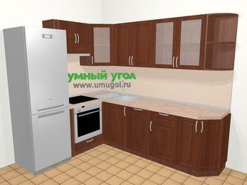 Угловая кухня МДФ матовый в классическом стиле 6,8 м², 190 на 250 см, Вишня темная, верхние модули 72 см, посудомоечная машина, встроенный духовой шкаф, холодильник