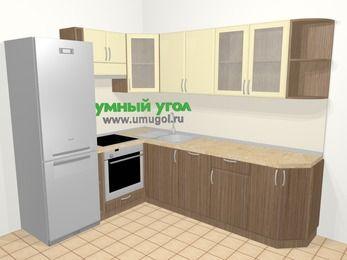Угловая кухня МДФ матовый в современном стиле 6,8 м², 190 на 250 см, Ваниль / Лиственница бронзовая, верхние модули 72 см, посудомоечная машина, встроенный духовой шкаф, холодильник