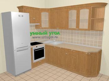 Угловая кухня МДФ матовый в стиле кантри 6,8 м², 190 на 250 см, Ольха, верхние модули 72 см, посудомоечная машина, встроенный духовой шкаф, холодильник