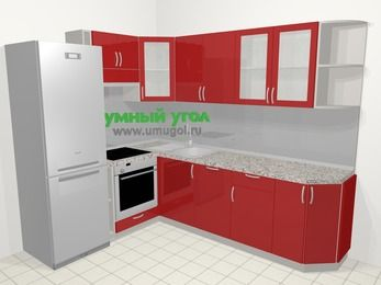 Угловая кухня МДФ глянец в современном стиле 6,8 м², 190 на 250 см, Красный, верхние модули 72 см, посудомоечная машина, встроенный духовой шкаф, холодильник