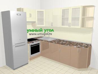 Угловая кухня МДФ глянец в современном стиле 6,8 м², 190 на 250 см, Жасмин / Капучино, верхние модули 72 см, посудомоечная машина, встроенный духовой шкаф, холодильник