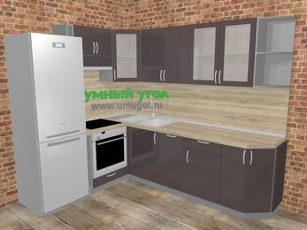 Угловая кухня МДФ глянец в стиле лофт 6,8 м², 190 на 250 см, Шоколад, верхние модули 72 см, посудомоечная машина, встроенный духовой шкаф, холодильник
