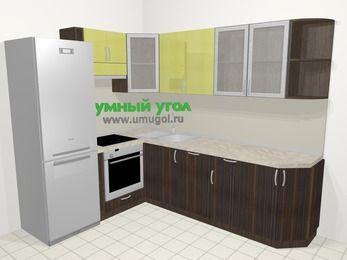 Кухни пластиковые угловые в современном стиле 6,8 м², 190 на 250 см, Желтый Галлион глянец / Дерево Мокка, верхние модули 72 см, посудомоечная машина, встроенный духовой шкаф, холодильник