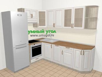 Угловая кухня МДФ патина в классическом стиле 6,8 м², 190 на 250 см, Лиственница белая, верхние модули 72 см, посудомоечная машина, встроенный духовой шкаф, холодильник
