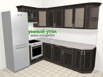 Угловая кухня МДФ патина в классическом стиле 6,8 м², 190 на 250 см, Венге, верхние модули 72 см, посудомоечная машина, встроенный духовой шкаф, холодильник