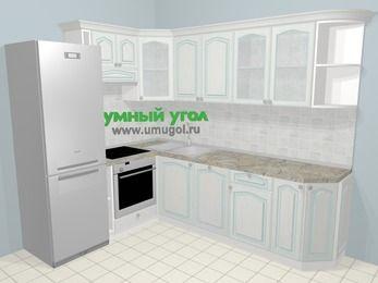 Угловая кухня МДФ патина в стиле прованс 6,8 м², 190 на 250 см, Лиственница белая, верхние модули 72 см, посудомоечная машина, встроенный духовой шкаф, холодильник