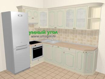 Угловая кухня МДФ патина в стиле прованс 6,8 м², 190 на 250 см, Керамик, верхние модули 72 см, посудомоечная машина, встроенный духовой шкаф, холодильник