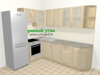 Угловая кухня из массива дерева в классическом стиле 6,8 м², 190 на 250 см, Светло-коричневые оттенки, верхние модули 72 см, посудомоечная машина, встроенный духовой шкаф, холодильник
