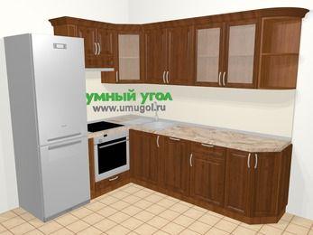 Угловая кухня из массива дерева в классическом стиле 6,8 м², 190 на 250 см, Темно-коричневые оттенки, верхние модули 72 см, посудомоечная машина, встроенный духовой шкаф, холодильник