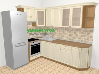 Угловая кухня из массива дерева в стиле кантри 6,8 м², 190 на 250 см, Бежевые оттенки, верхние модули 72 см, посудомоечная машина, встроенный духовой шкаф, холодильник