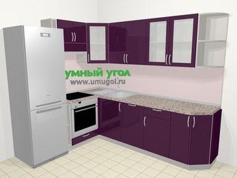 Угловая кухня МДФ глянец в современном стиле 6,8 м², 190 на 250 см, Баклажан, верхние модули 72 см, посудомоечная машина, встроенный духовой шкаф, холодильник