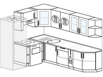 Планировка угловой кухни 6,8 м², 190 на 250 см: верхние модули 72 см, холодильник, отдельно стоящая плита, корзина-бутылочница