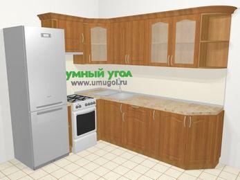 Угловая кухня МДФ матовый в классическом стиле 6,8 м², 190 на 250 см, Вишня, верхние модули 72 см, холодильник, отдельно стоящая плита