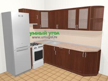Угловая кухня МДФ матовый в классическом стиле 6,8 м², 190 на 250 см, Вишня темная, верхние модули 72 см, холодильник, отдельно стоящая плита