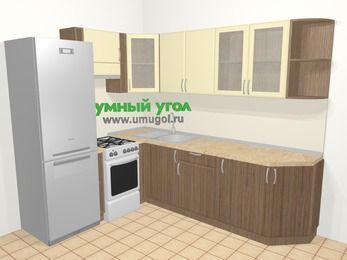 Угловая кухня МДФ матовый в современном стиле 6,8 м², 190 на 250 см, Ваниль / Лиственница бронзовая, верхние модули 72 см, холодильник, отдельно стоящая плита