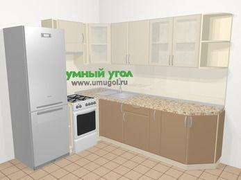 Угловая кухня МДФ матовый в современном стиле 6,8 м², 190 на 250 см, Керамик / Кофе, верхние модули 72 см, холодильник, отдельно стоящая плита