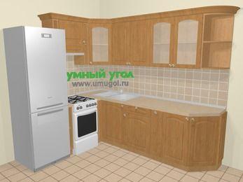 Угловая кухня МДФ матовый в стиле кантри 6,8 м², 190 на 250 см, Ольха, верхние модули 72 см, холодильник, отдельно стоящая плита
