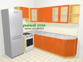 Угловая кухня МДФ металлик в современном стиле 6,8 м², 190 на 250 см, Оранжевый металлик, верхние модули 72 см, холодильник, отдельно стоящая плита