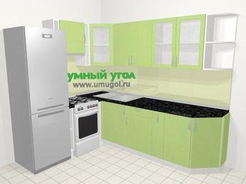 Угловая кухня МДФ металлик в современном стиле 6,8 м², 190 на 250 см, Салатовый металлик, верхние модули 72 см, холодильник, отдельно стоящая плита