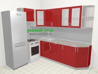 Угловая кухня МДФ глянец в современном стиле 6,8 м², 190 на 250 см, Красный, верхние модули 72 см, холодильник, отдельно стоящая плита