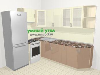 Угловая кухня МДФ глянец в современном стиле 6,8 м², 190 на 250 см, Жасмин / Капучино, верхние модули 72 см, холодильник, отдельно стоящая плита