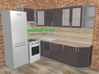 Угловая кухня МДФ глянец в стиле лофт 6,8 м², 190 на 250 см, Шоколад, верхние модули 72 см, холодильник, отдельно стоящая плита