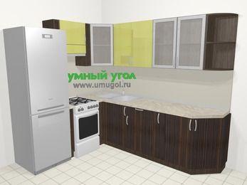 Кухни пластиковые угловые в современном стиле 6,8 м², 190 на 250 см, Желтый Галлион глянец / Дерево Мокка, верхние модули 72 см, холодильник, отдельно стоящая плита