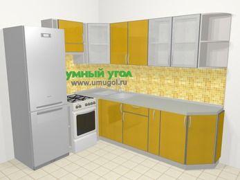 Кухни пластиковые угловые в современном стиле 6,8 м², 190 на 250 см, Желтый глянец, верхние модули 72 см, холодильник, отдельно стоящая плита
