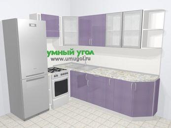 Кухни пластиковые угловые в современном стиле 6,8 м², 190 на 250 см, Сиреневый глянец, верхние модули 72 см, холодильник, отдельно стоящая плита