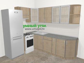 Кухни пластиковые угловые в стиле лофт 6,8 м², 190 на 250 см, Чибли бежевый, верхние модули 72 см, холодильник, отдельно стоящая плита