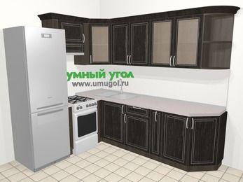 Угловая кухня МДФ патина в классическом стиле 6,8 м², 190 на 250 см, Венге, верхние модули 72 см, холодильник, отдельно стоящая плита