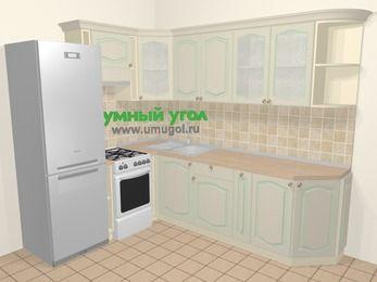 Угловая кухня МДФ патина в стиле прованс 6,8 м², 190 на 250 см, Керамик, верхние модули 72 см, холодильник, отдельно стоящая плита