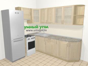 Угловая кухня из массива дерева в классическом стиле 6,8 м², 190 на 250 см, Светло-коричневые оттенки, верхние модули 72 см, холодильник, отдельно стоящая плита