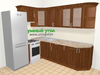 Угловая кухня из массива дерева в классическом стиле 6,8 м², 190 на 250 см, Темно-коричневые оттенки, верхние модули 72 см, холодильник, отдельно стоящая плита