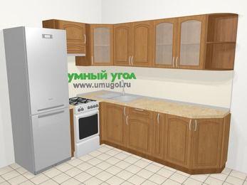 Угловая кухня МДФ патина в классическом стиле 6,8 м², 190 на 250 см, Ольха, верхние модули 72 см, холодильник, отдельно стоящая плита
